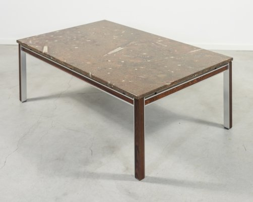 Danish Fossil stone coffee table by Bendixen design, 1960's