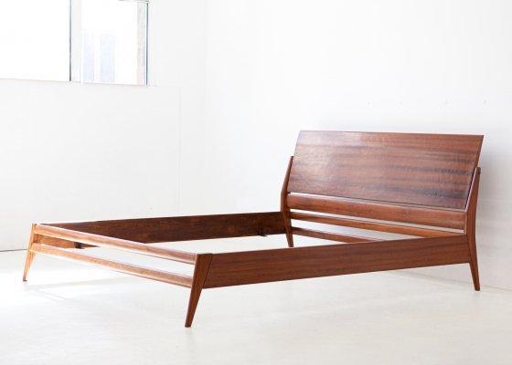 1950s mahogany double bed by Silvio Cavatorta