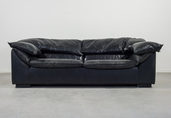 Modern black leather 'Monza' sofa by Niels Eilersen, 1980s