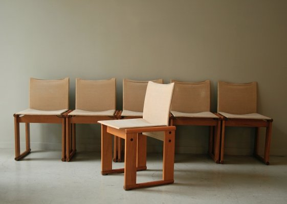 Set of 6 Monk dining chairs by Tobia Scarpa & Afra Scarpa for Molteni, 1970s