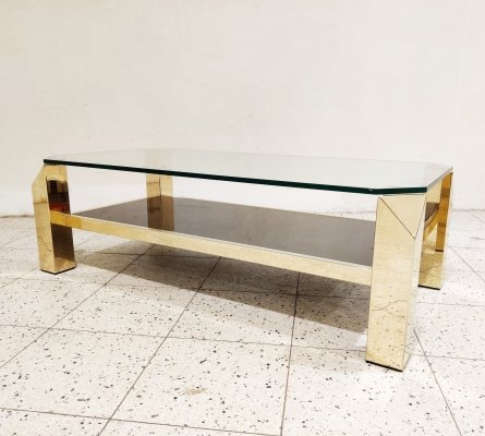 Vintage golden coffee table by Belgo Chrom, 1970s