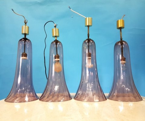 Pink murano glass pendant lamps, Italy 1930s