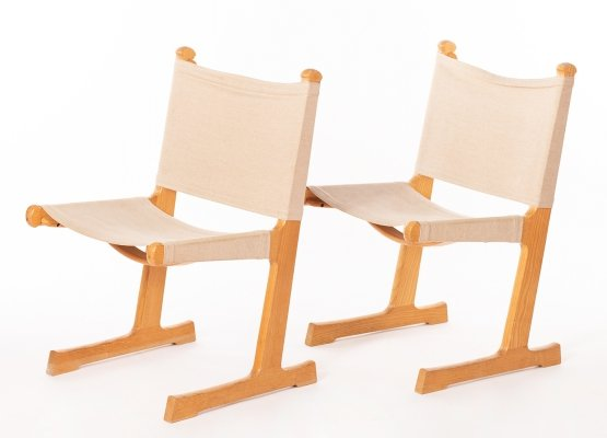 Vintage set of 2 chairs in oak & canvas by Ditte & Adrian Heath for France & Son, 1960s