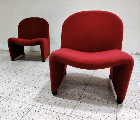 Pair of red Alky Chairs by Giancarlo Piretti for Anonima Castelli, 1970s
