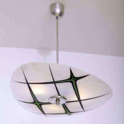 White & Green Glass Ceiling Lamp by Napako, Czechoslovakia 1960s
