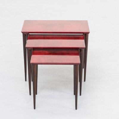 Aldo Tura Nesting Tables in red goat skin, Milano 1960s