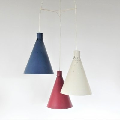 Rare three in one pendant lamp by Alf Svensson for Bergboms