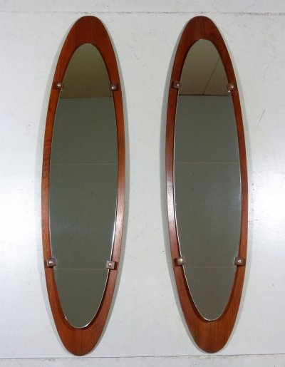 Large Teak Mirrors by Mobili Polli Italy, 1950's