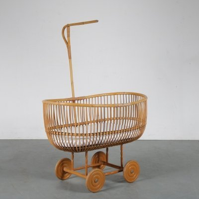 Rattan baby bed, the Netherlands 1950s