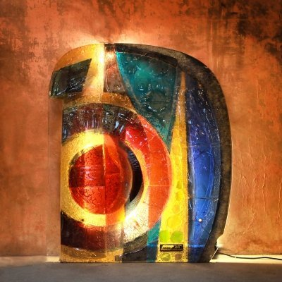 XL Glass Window Colored Glass Wall Sculpture, 1970s