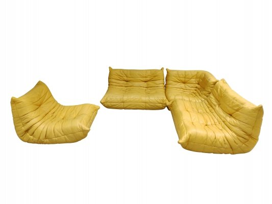 Modular 4-Piece yellow leather 'Togo' Sofa by Michel Ducaroy for Ligne Roset