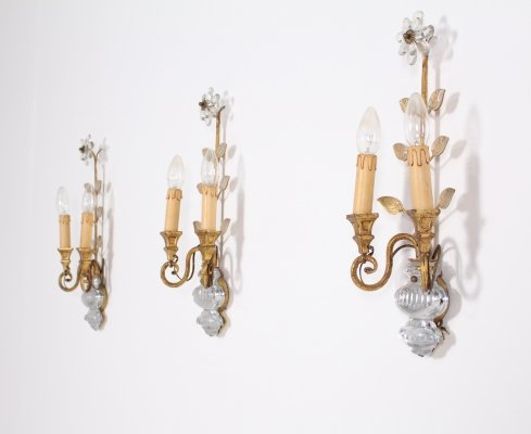 3 gilted wrought iron & crystal floral italian sconces