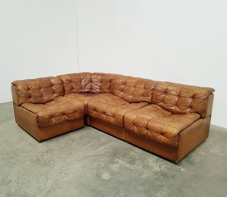 De Sede DS11 sectional sofa in light brown leather, 1970s