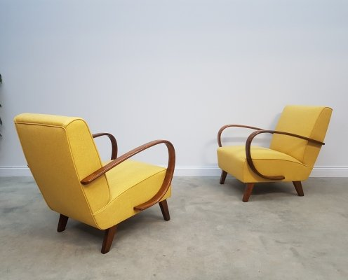 Pair of Jindrich Halabala for Thonet Bentwood Armchairs in Yellow, 1930s