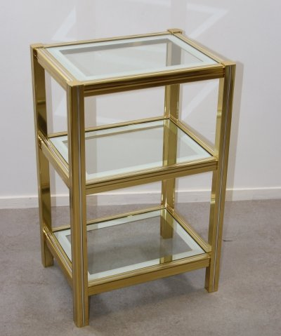 Gold coloured Side Table with 3 floors