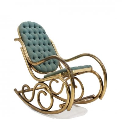 Thonet brass rocking chair, 1950s