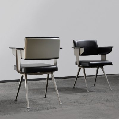 Pair of industrial 'Resort' armchairs by Friso Kramer for Ahrend de Cirkel, 1960s