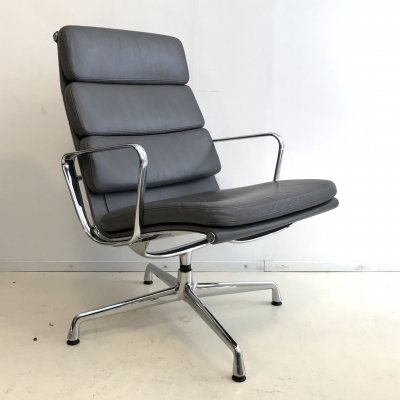 Gray leather EA216 Softpad lounge chair by Charles & Ray Eames for Vitra, 1990s