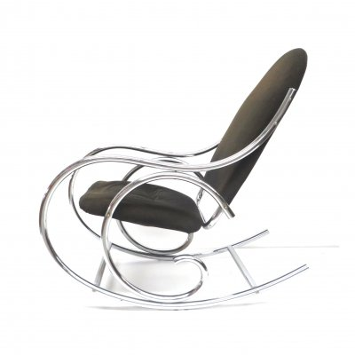 Mid century rocking chair with solid chrome frame & fabric seat, 1970s