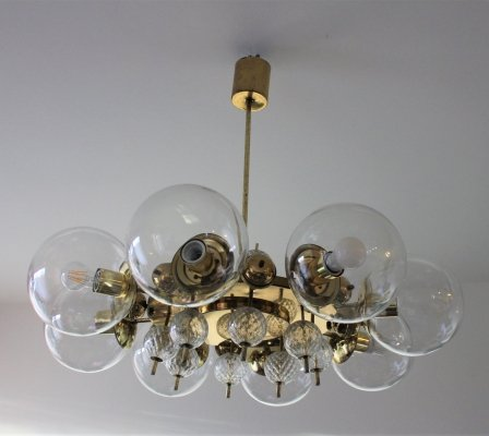Huge brass & glass chandelier by Lustry Kamenicky Senov