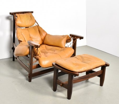 Jean Gillon 'Jangada' Leather Lounge Chair & Ottoman