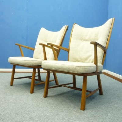 Pair of Cherry Wingback Armchairs, 1950s