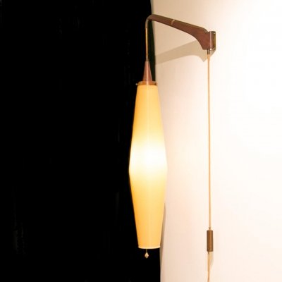 Adjustable hanging lamp by Yasha Heifetz with Rotoflex shade, 1950s