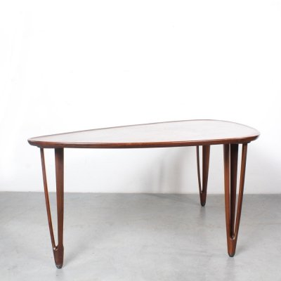 Tripod coffee table in teak by B. C. Møbler, 1960s