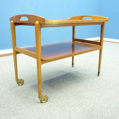 Walnut Serving Trolley from Lotos, 1960s