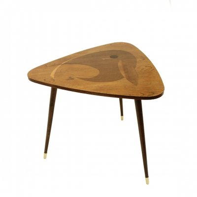 Tripod wooden table with intarsia, 1960s