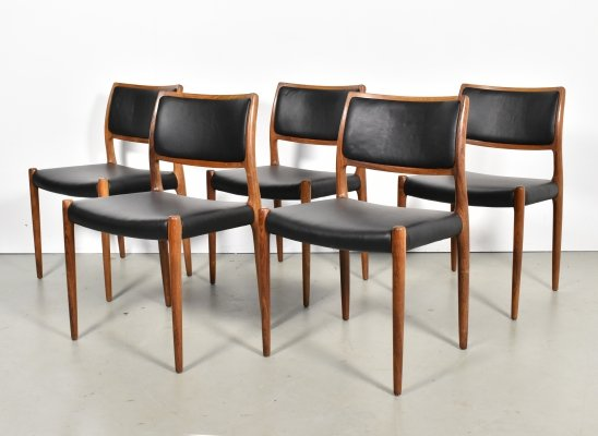 Set of 5 'Model 80' rosewood black leather chairs by Niels Otto Moller, 1960s
