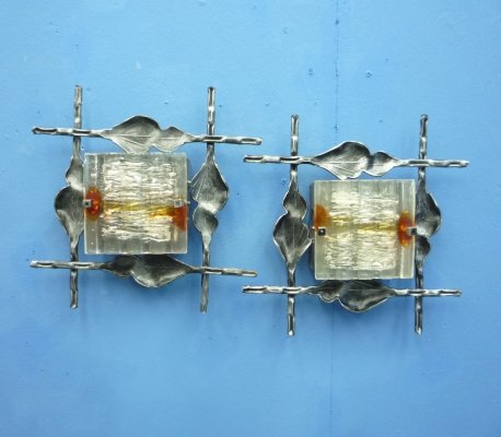 Pair of Brutalist Sconces, 1960s