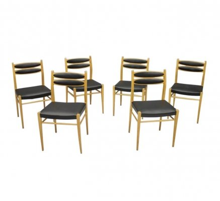 Set of 6 Dining Chairs in Cherry Wood & Black Leather, 1950s