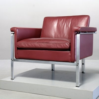 Red leather Model 6912 Lounge Chair by Horst Brüning for Kill, 1980s