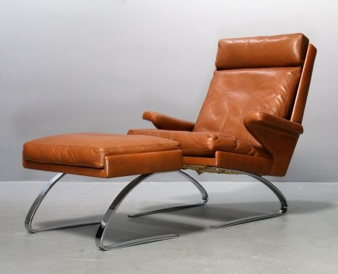 Cognac leather COR Swing lounge chair with Ottoman by Adolf & Schröpfer, 1976