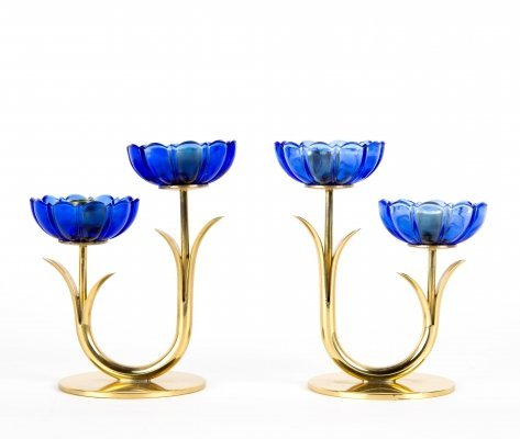 Set of two Gunnar Ander for Ystad blue artglass candle holders in brass, 1950s