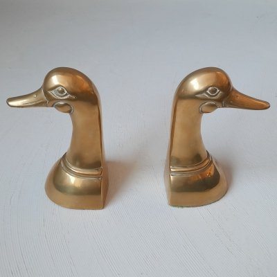 Set of 2 Brass Duck Bookends, 1970s