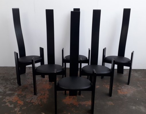 Set of 6 Golem dining chairs by Vico Magistretti for Poggi, 1980s