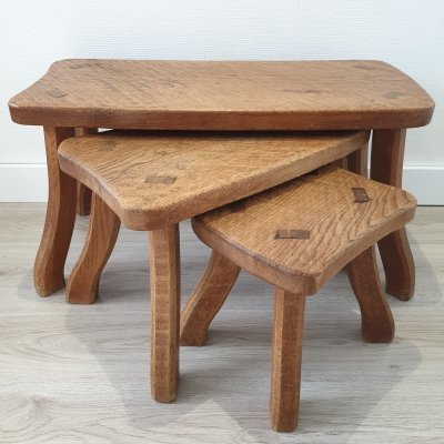 Mid-century Scandinavian oak tree trunk nesting tables with curved legs