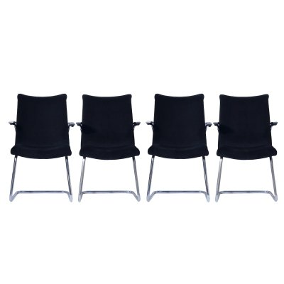 Set of 4 black fabric Cantilever Chairs 3014 by Toon De Wit for De Wit, 1950s