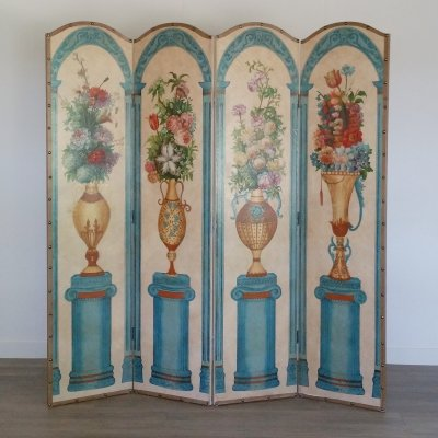 Hand-Painted Four Panel Folding Screen / Room Divider, 1950s