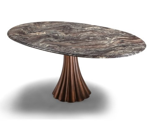 Angelo Mangiarotti marble table on metallic cast base, 1970's