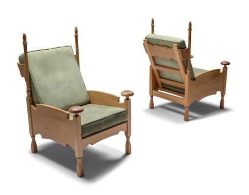 Natural oak Throne lounge chairs, 1950's