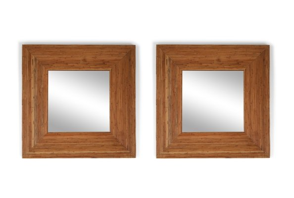 Pair of rattan mirrors by Vivai del Sud, 1970s