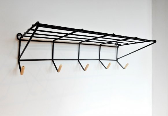 Black lacquered metal coat rack by Friso Kramer with white knobs