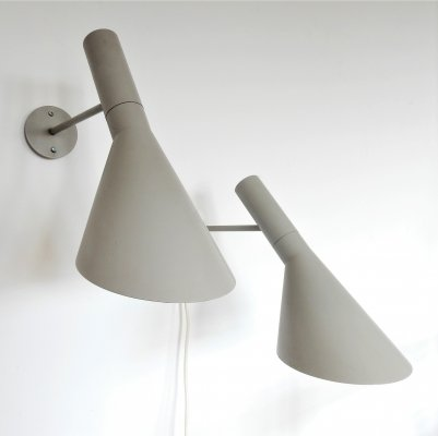 Set of 2 early AJ Visor wall lamps by Arne Jacobsen for Louis Poulsen, 1960's