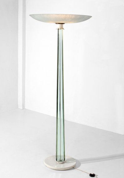 Pietro Chiesa for Fontana Arte MidCentury white & crystal Floor Lamp, 1930s