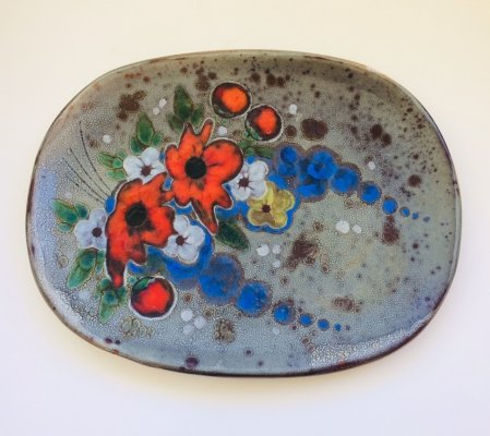Midcentury Modern Art Pottery Wall Plate by Vallauris, France 1960's