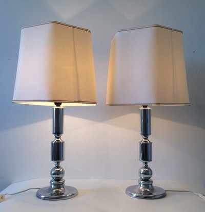 Pair of Midcentury Modern Design Chrome Metal Table Lamps, 1970's