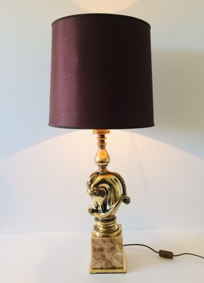 Hollywood Regency Design Brass Horse Head Table lamp by Deknudt, 1970's